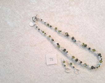 Olivine Swarovksi Crystal and Pearl Necklace and Earring Set