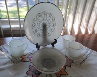 Vintage Anchor Hocking Dinnerware Vienna Lace - 23 Pieces