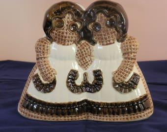 Handmande dolls-- Sittre Ceramic-- Napkin Holder-- 1979