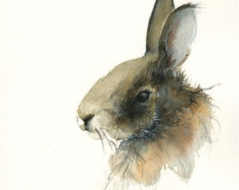 watercolor painting print -Rabbit - easter art, Archival Print, rabbit art, nature, watercolor