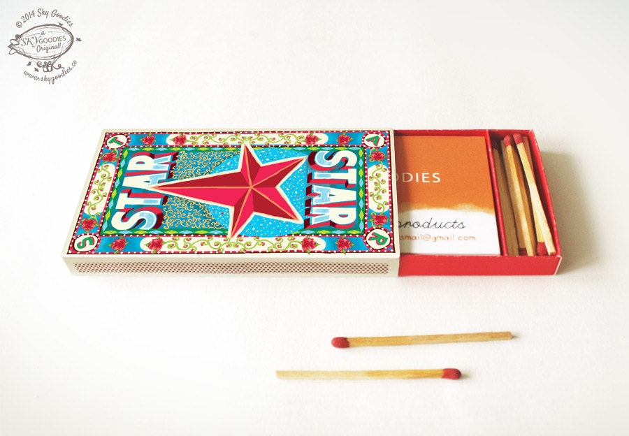 Printable diy matchbox business card or cigarette case star zoom reheart Choice Image