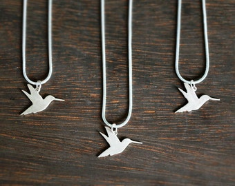 Small Silver Hummingbird Necklace - Simple Sterling Silver Charm - Flying Bird Silhouette - Everyday Necklace