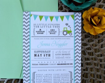 Tiny Toes and Little Nose Tractor Baby Invitation