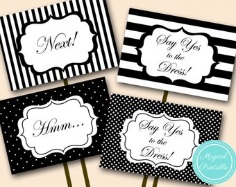 Say yes to the dress sign, instant download, yes to dress paddle, wedding dress shopping signs, PNN04