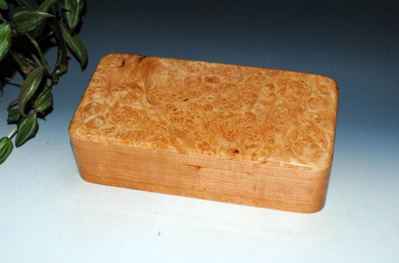 Handmade Wooden Box With Tray - Wood Box of Maple Burl on Cherry by BurlWoodbox - Jewelry Box, Stash Box, Wooden Jewelry Box, Wood Box Tray