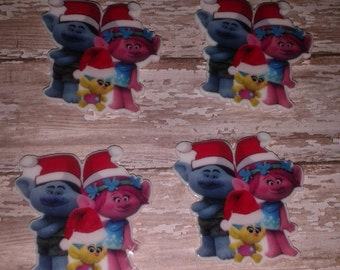 New- Christmas Trolls Resin Bow Centers - set of 4