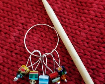 Stitch Markers.  Square Lamp glass beads.