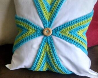 Hand-crocheted, Summer Pillow Slip Cover