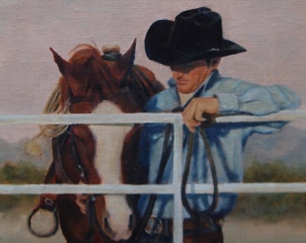 "Western original art, cowboy and horse at fence, ""At the End of the Day"""