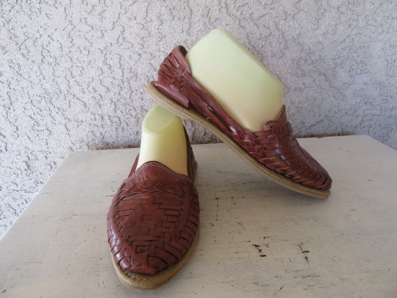 Brown Flats 5 Woven 1990s Huaraches 8 Leather Leather 80s Shoes 1980s 38 90s Size Euro Ewq6q0A
