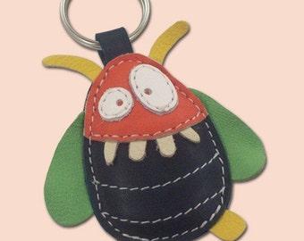 Boris The Monster Beatle Leather Animal Keychain