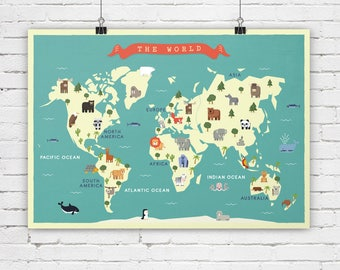 Orange world map etsy nursery world map animals map map for nursey map for children map gumiabroncs Image collections