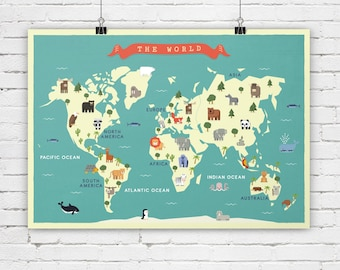Animal world map etsy nursery world map animals map map for nursey map for children map gumiabroncs Gallery