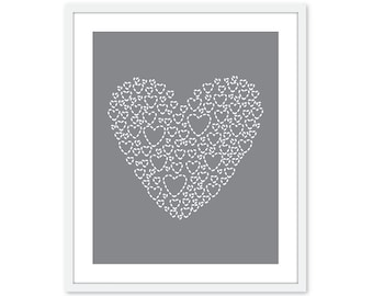Love Heart Digital Art Print Nursery Unique Modern Home Neutral Slate Grey