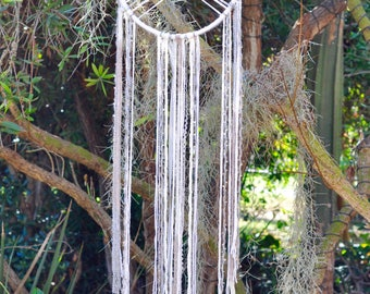 Extra Long White with Silver Accents Geometric Dream Catcher