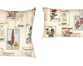 Vintage Seed Packet Throw Pillows