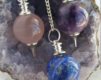 Crystal Pendulum, Gemstone Pendulum, Lapis Pendulum, Rose Quartz Pendulum, Amethyst Pendulum