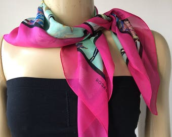 Pure silk SPRING scarf Sea Green & Fuschia Pink Floral print semi sheer Made in Italy by Rosabotanica Balenciaga , Gift for her Mothers Day