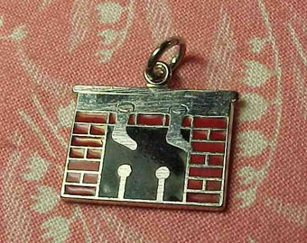 One Vintage Sterling Christmas Fireplace Stockings Hung Enamel  Bracelet charm