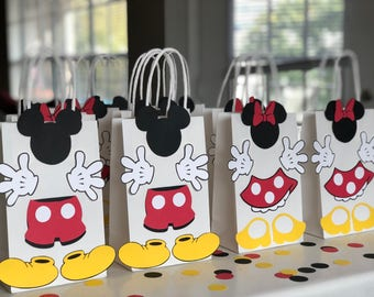 MICKEY and MINNIE MOUSE Birthday Party (Set of 10) Favors/ Bags / Goodies/ Goody/ Loot/ Candy/ Treats/ Supplies/ Decorations/ Fiesta/ Gifts