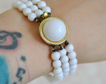 Vintage Bracelet with Three Strands of White Glass Beads
