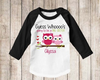 Big Sister To Be Owl Personalized T Shirt Big Sister Raglan shirt