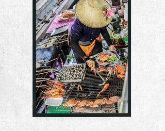 Thailand Floating Market Photographic Print, Wall Art