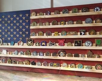 """18"""" x 34"""" Military Challenge Coin Display Rack US Wood Flag for Veterans Army Navy Air Force Marines Coast Guard"""