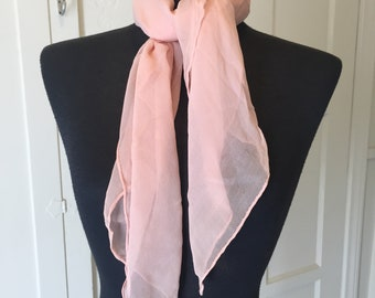 Vintage Pink Sheer Nylon Scarf, Pink Chiffon Scarf, Light Pink, 50's 60's Style, Rockabilly, Pin Up, Head Scarf Neck Scarf, Hair Scarf