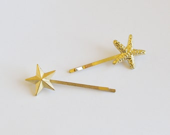 Set of 2 Gold Plated Star Bobby Pin Hair Clip Accessories