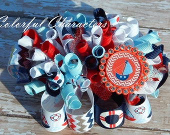 SALE Nautical Themed Funky Loopy Bow, red white and blue, ready to ship, korkers