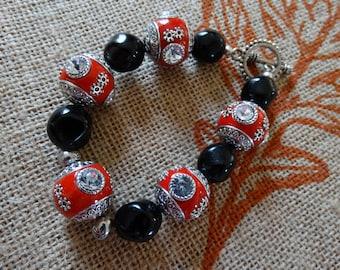 Beaded Bracelet, Chunky Bracelet, Boho Bracelet, Red and Black, Chunky Beads, Jesse James Beads, Jessie James Jewelry, Holiday Giving