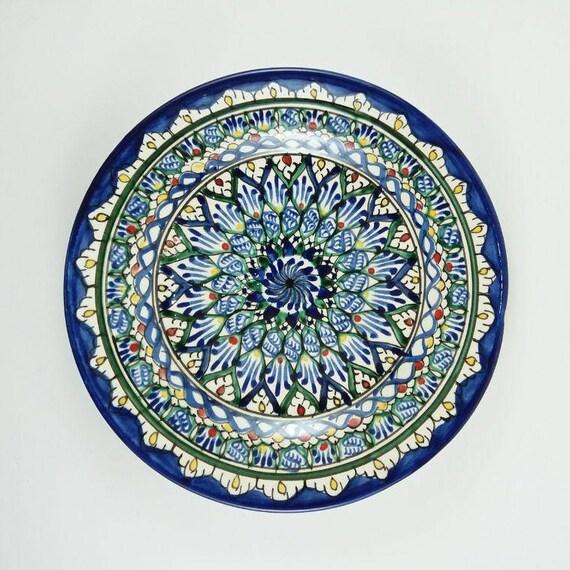 sc 1 st  Etsy & Uzbekistan pottery blue and green plates decorative plates