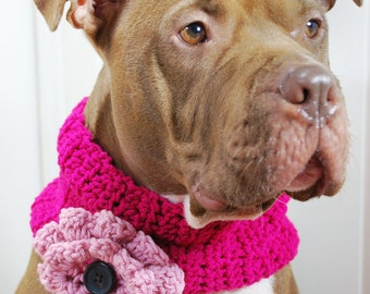 Dog Cowl Crochet Hot Pink with Pale Pink Flower