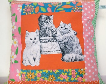 Vintage Patchwork 'Apron' Kitten Cat cushion 30cm