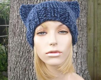 Knit Hat Blue Womens Hat - Blue Cat Beanie Hat in Twist Blue Knit Hat - Blue Hat Blue Beanie Blue Cat Hat Womens Accessories Winter Hat