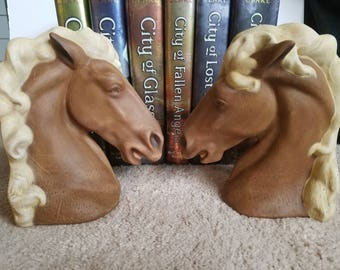 Horse Head Book Ends. Hand-painted. Ceramic