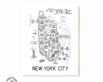 New York City Map Art Print - Black & White