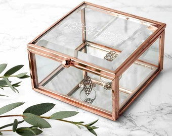 Personalised Rose Gold Glass Trinket Box - Jewellery Box - Mother's Day Gift - Gift For Wife - Gift for Her - Teen Gift - FREE UK DELIVERY
