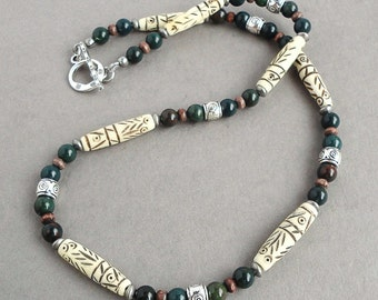 Bloodstone Tribal Carved Bone Necklace for Men, Green, White, Brown Beaded Men's Necklace, Choker, for Guys, Dad, Him