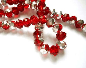 50 Red Faceted Abacus Electroplated Glass Beads - 29-7