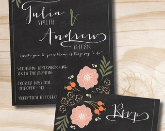 Floral Wedding Invitation and Response Card Invitation Suite