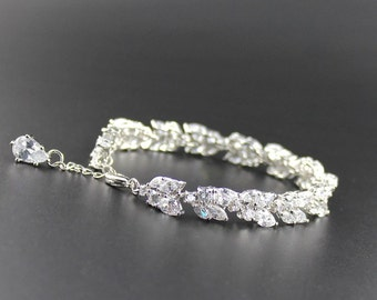 Crystal Bridal Bracelet, White Gold Wedding Bracelet Crystal Bracelet, CLEO