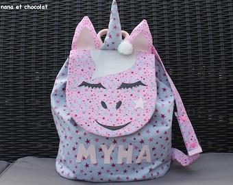 Sac à dos licorne, maternelle, sac à dos à coulisse, sac à dos enfant école, sac à dos fille rose, étoile,  doudou, sac enfant prénom