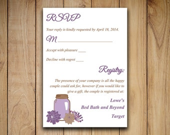 Mason Jar Wedding RSVP Template - Response Card - Printable Wedding Invitation RSVP Card - Lavender Purple Brown RSVP Instant Download
