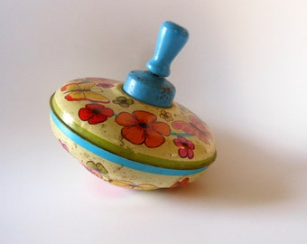 Vintage Tin Top Spinner Toy