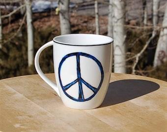 White and Cobalt Blue Peace Sign Mug