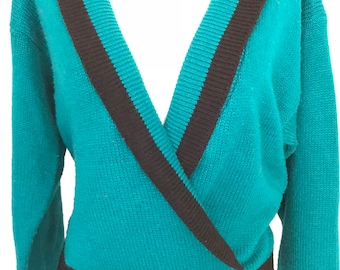 80's Teal Shawl Cardigan