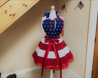 4th of July Outfit , USO costume , Red White Blue apron