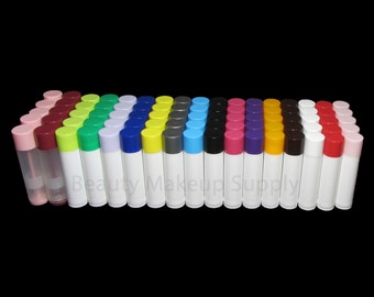 50 Empty Lip Balm Tubes Containers (17 Color To Choose From)  - 0.15 oz  | FREE US shipping